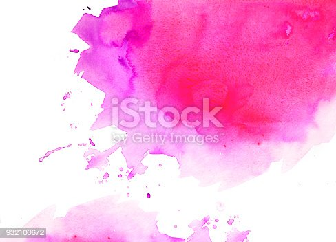 848933370 istock photo Pink watercolor background on a white paper 932100672