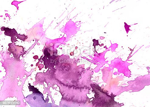 istock Pink watercolor background on a white paper 937613140