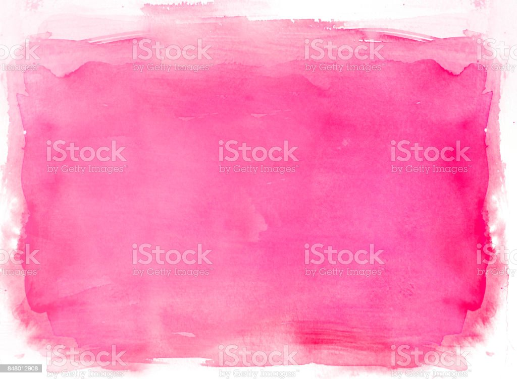 Pink watercolor background on a white stock photo