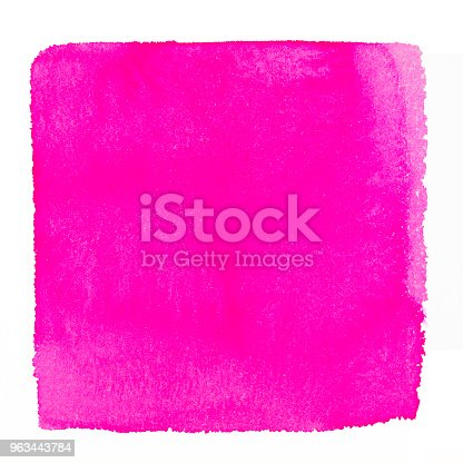 istock Pink watercolor square background on a white paper 963443784