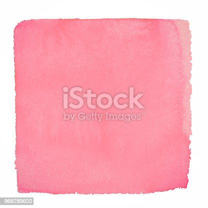 istock Pink watercolor square background on a white paper 966289620