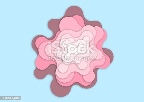 istock Pink wave on light blue background - Wavy pink paper cut style and craft style- Artwork pink wave and empty space for add message - Illustration 1165474053