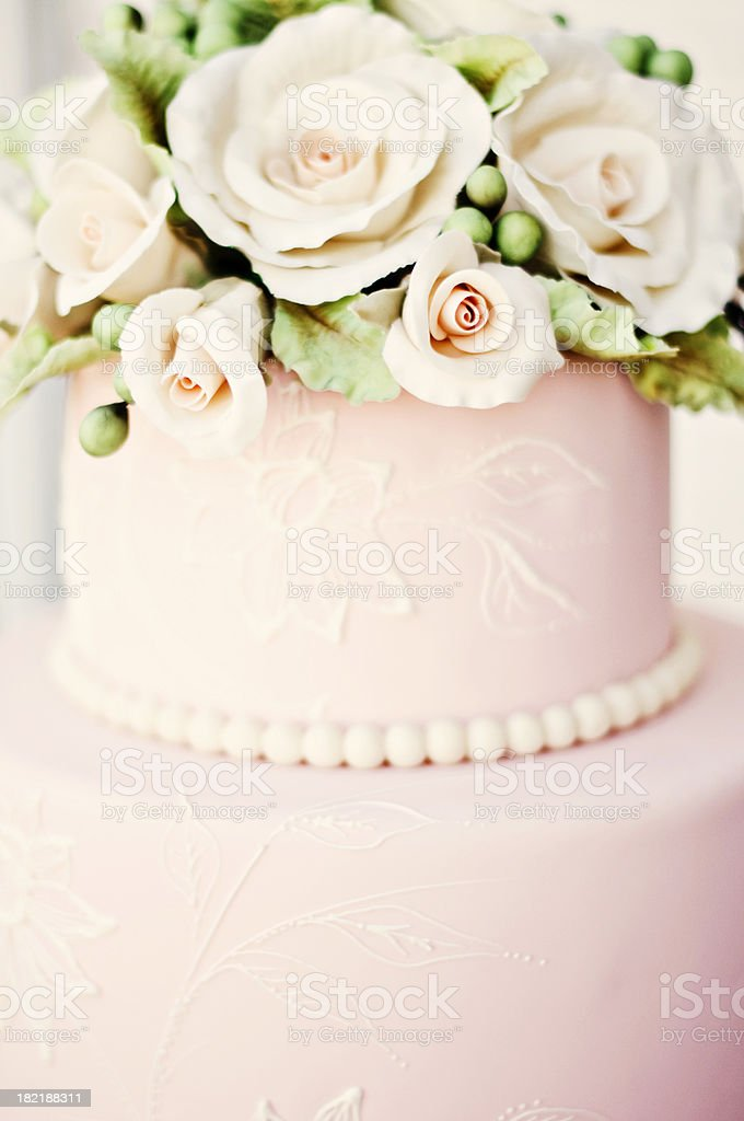 Pink Wedding Cake with Roses stock photo
