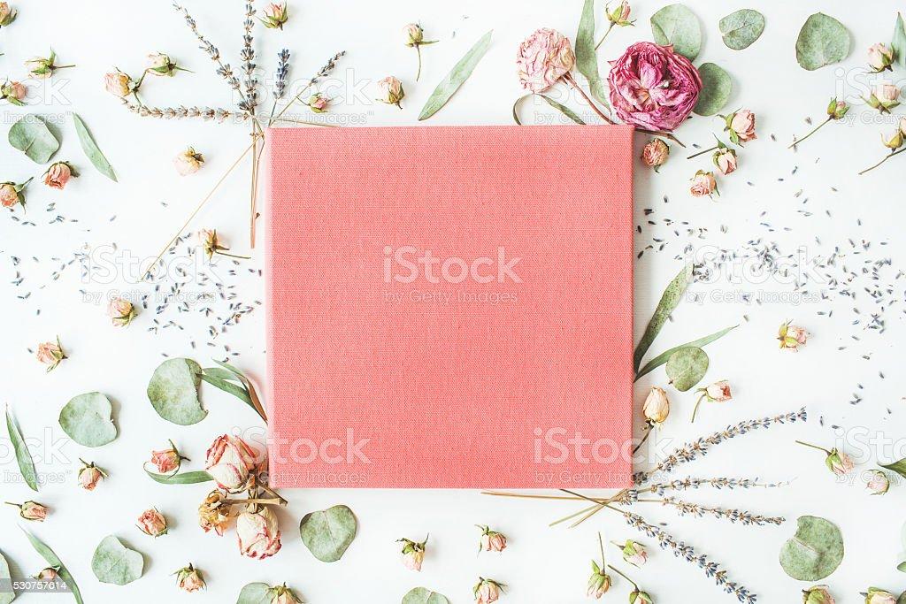 pink wedding or family photo album, flat lay stock photo