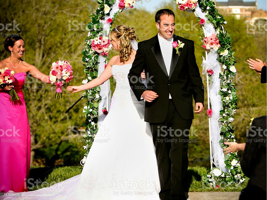 Pink Wedding Portraits royalty-free stock photo