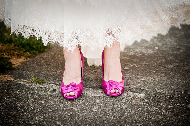 Pink Wedding Shoes stock photo