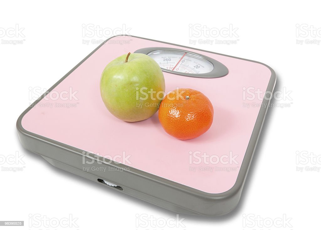 Pink Weighing Scales and fruits royalty-free stock photo