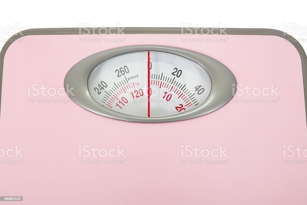 Pink Weighing Scales Isolated royalty-free stock photo