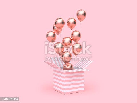 istock pink white gift box open gold metallic balloon group floating 3d rendering 946089954