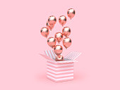 pink white gift box open gold metallic balloon group floating 3d rendering