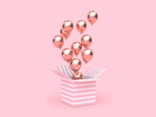 pink white gift box open gold metallic balloon group floating 3d rendering stock photo