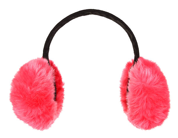 Pink winter earmuffs isolated on white background stock photo