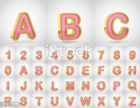964199358istockphoto Pink with gold alphabet letters uppercase isolated on white background. 964199386