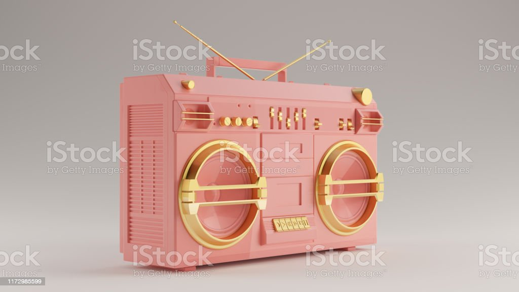 Pink with Gold Detail Boombox 3 Quarter Left View 3d illustration 3d...