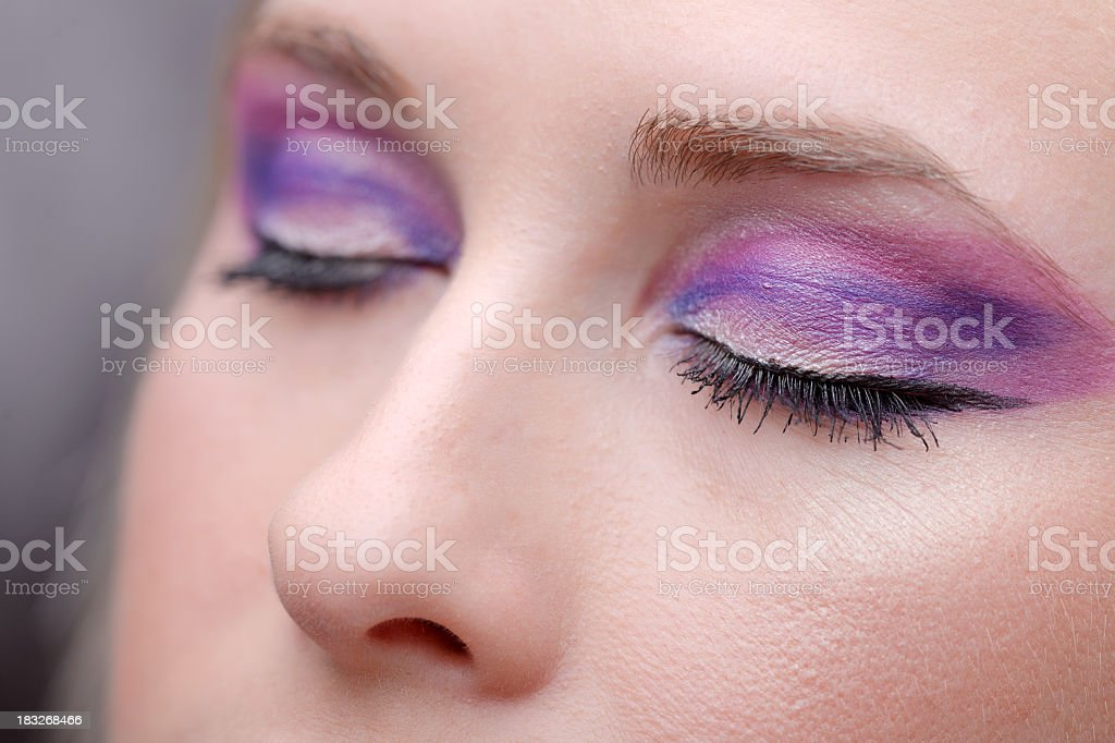 pink with purple makeup stock photo