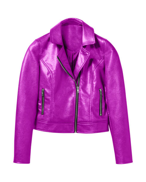 pink woman leather jacket isolated on white - jacket stock photos and pictures