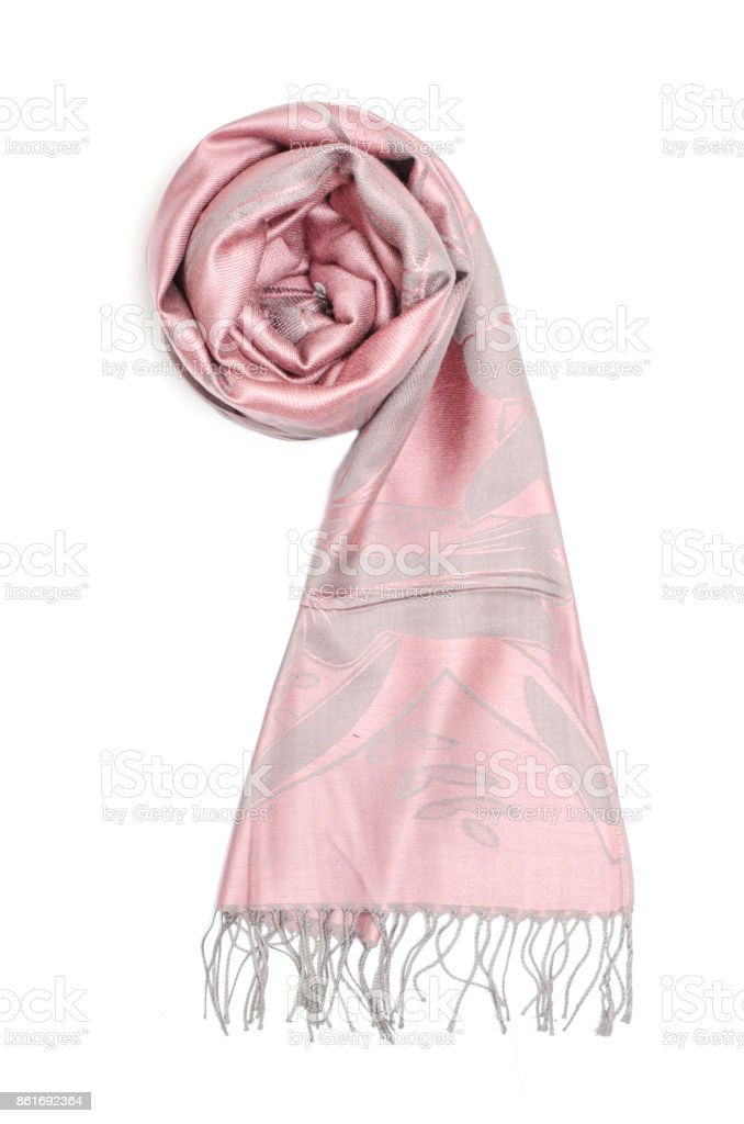 0981ebeb5 pink women's scarf with pattern isolated on white royalty-free stock photo