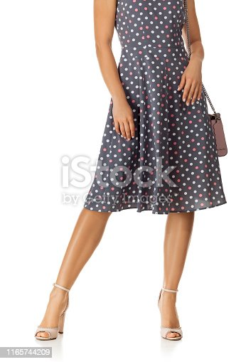 istock pink women's shoes and leather bag. 1165744209