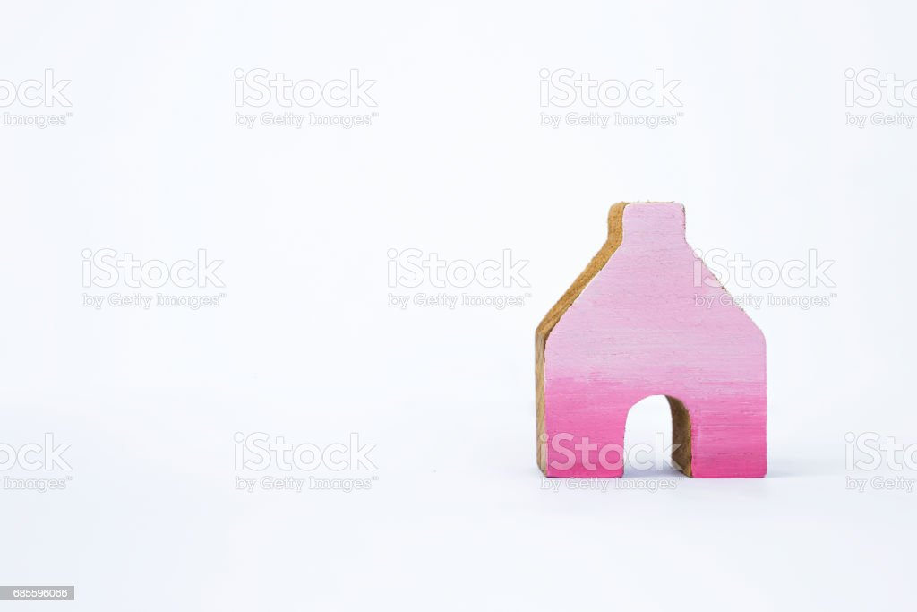 Pink wooden miniature house design royalty-free 스톡 사진