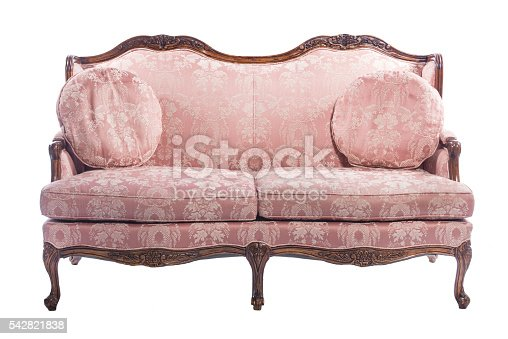 istock Pink wooden royal ornament luxury vintage sofa isolated 542821838