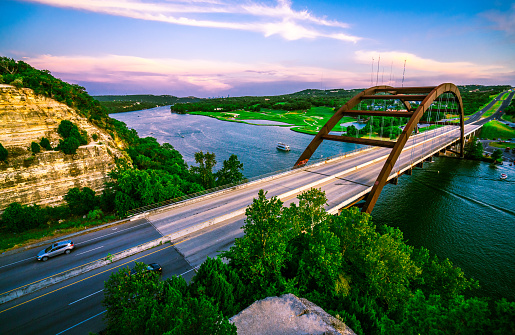 501329818 istock photo Pink Wraps the Sky at Pennybacker Bridge 1015133306