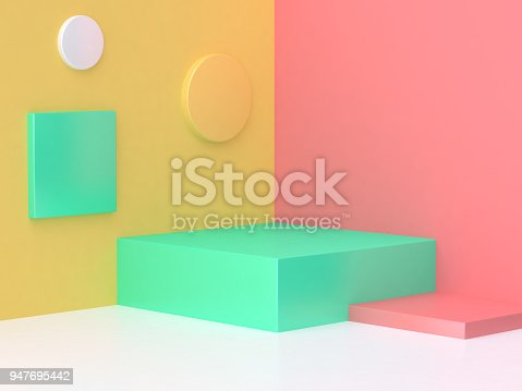 istock pink yellow green scene colorful abstract corner minimal background 3d render 947695442