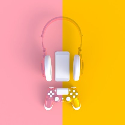 istock Pink yellow joystick with pink yellow headphones and smart phone on pink yellow table background, Computer game competition, Gaming concept, 3D rendering 971961606