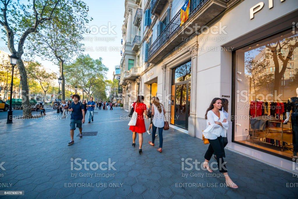 Pinko store at Passeig de Gracia, shopping street in Barcelona, Spain stock photo