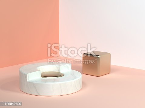 istock pink/orange/cream minimal scene wall corner abstract geometric shape white marble circle gold cube 3d rendering 1126842309