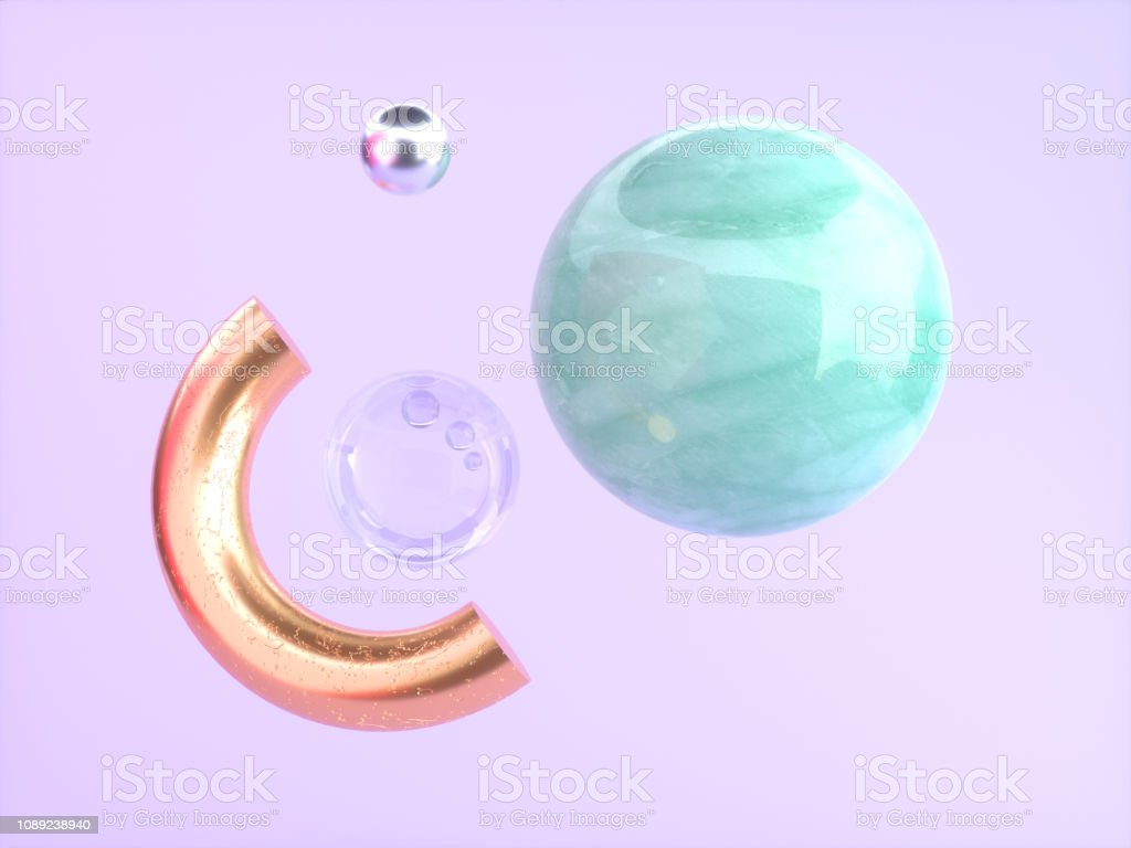 Pinkpurple Background Green Marble Gold Semicircle Floating 3d Rendering Stock Photo Download Image Now Istock