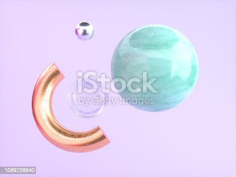 istock pink/purple background green marble gold semicircle floating 3d rendering 1089238940