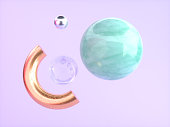 pink/purple background green marble gold semicircle floating 3d rendering