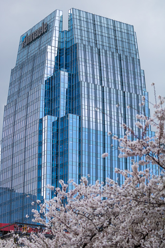 Nashville, Tennessee - March 25, 2019 : Pinnacle Financial Partners building reflecting the sky on a beautiful day.