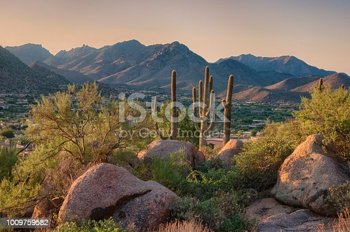 Pinnacle Peak is a park in Scottsdale Arizona which has hiking trails and many desert plants in the hills of Arizona.