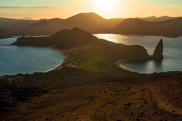 Pinnacle Rock Sunset, Galapagos Islands, Ecuador stock photo