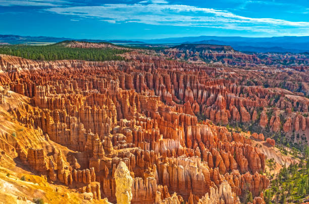 Pinnacles and Brown Cliffs of Bryce Canyon National Park Seen from Sunrise Point
