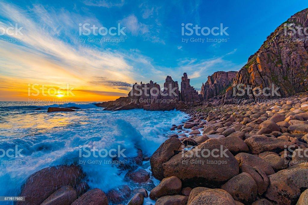 Pinnacles Sunset stock photo