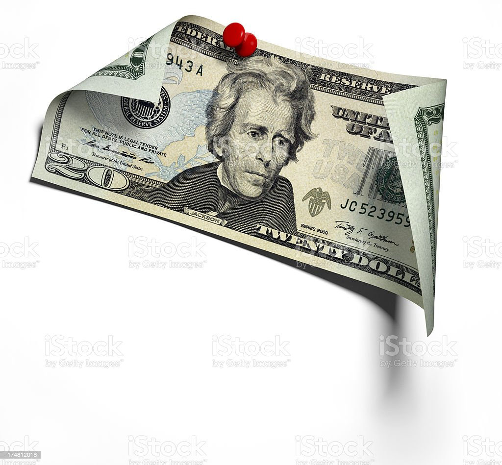 Pinned Twenty Dollars Banknote on white wall stock photo