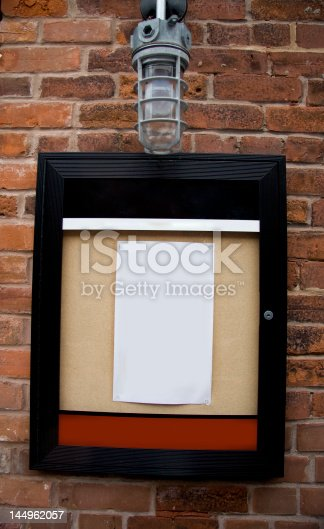 istock Pinned Up Paper in Glass Case 144962057