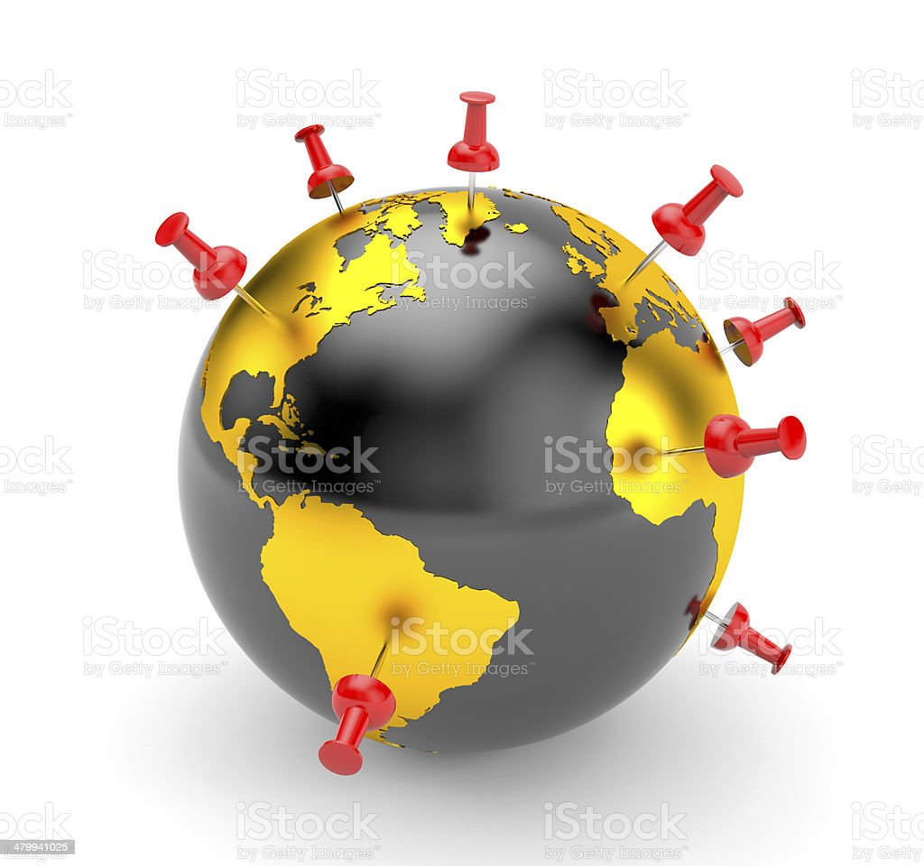 Pinned world stock photo