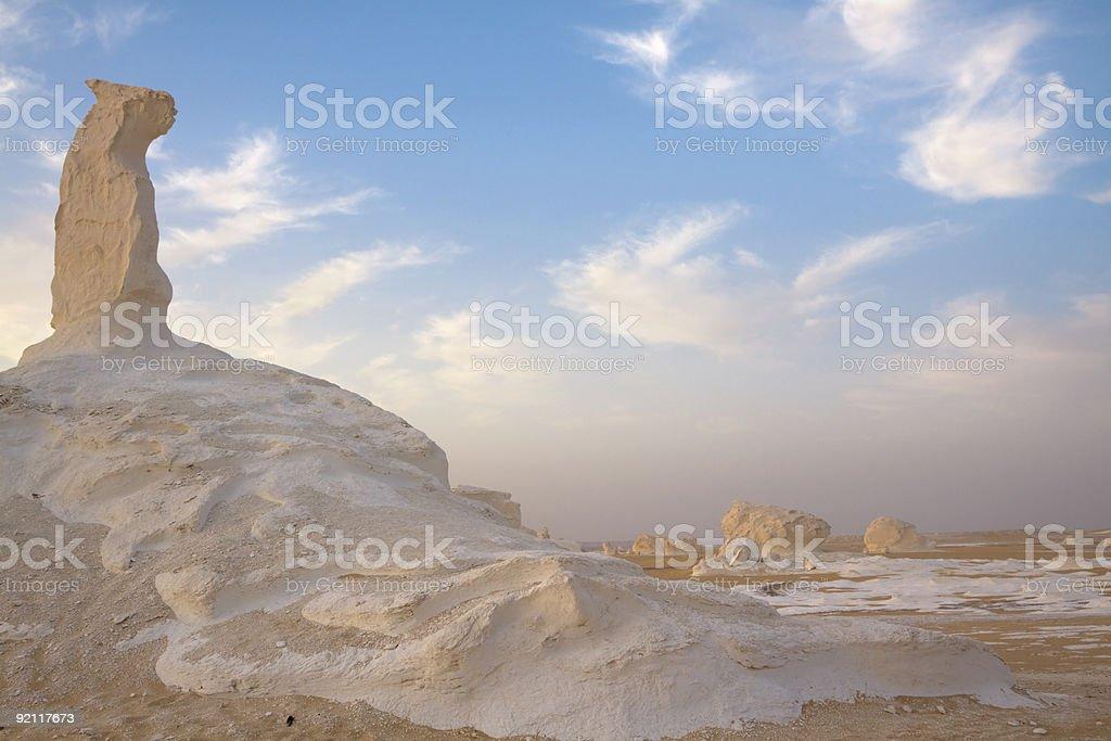 pinnicle in the white desert egypt stock photo
