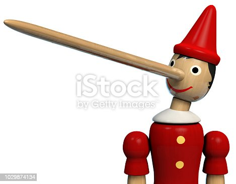 Pinocchio Long Nose Character Wooden Doll. Clipping path included.