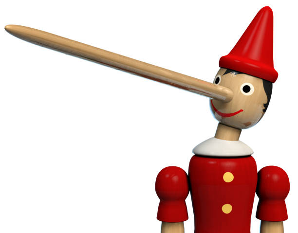 Pinocchio Character Toy Portrait Pinocchio Long Nose Character Wooden Doll. Clipping path included. pinocchio stock pictures, royalty-free photos & images