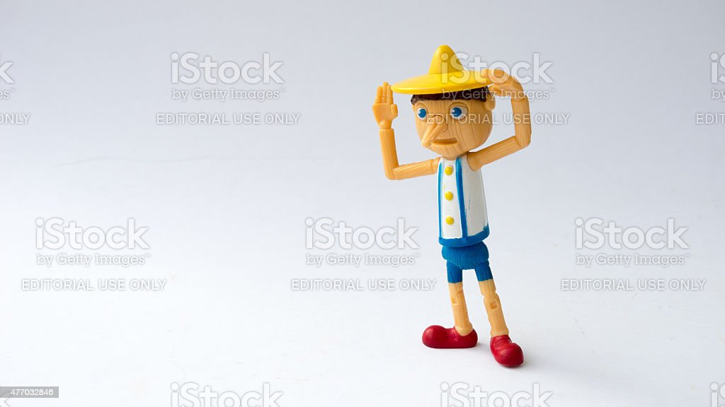 Pinocchio figure from Shrek the movie franchise. stock photo