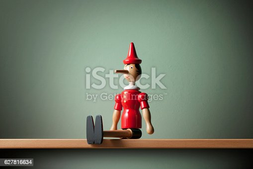 Pinocchio on the shelf.