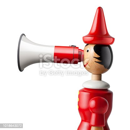 Pinocchio with a megaphone nose on white background.