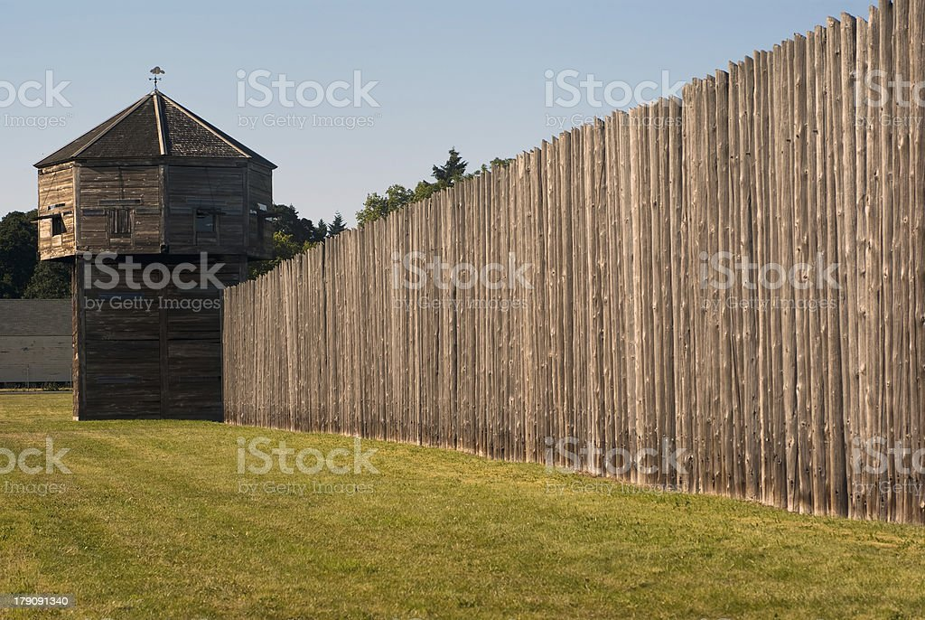 Pinoeer fortress with defense tower Fort Vancouver stock photo