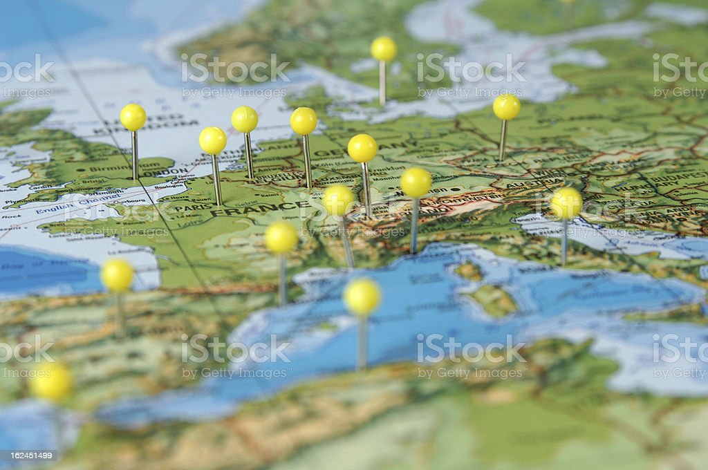 Pins in a Map of Europe stock photo