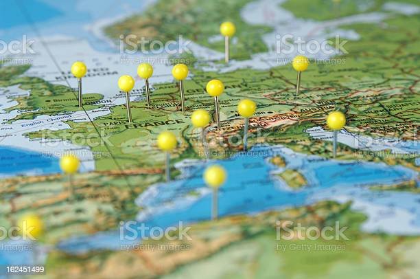 Pins In A Map Of Europe Stock Photo - Download Image Now