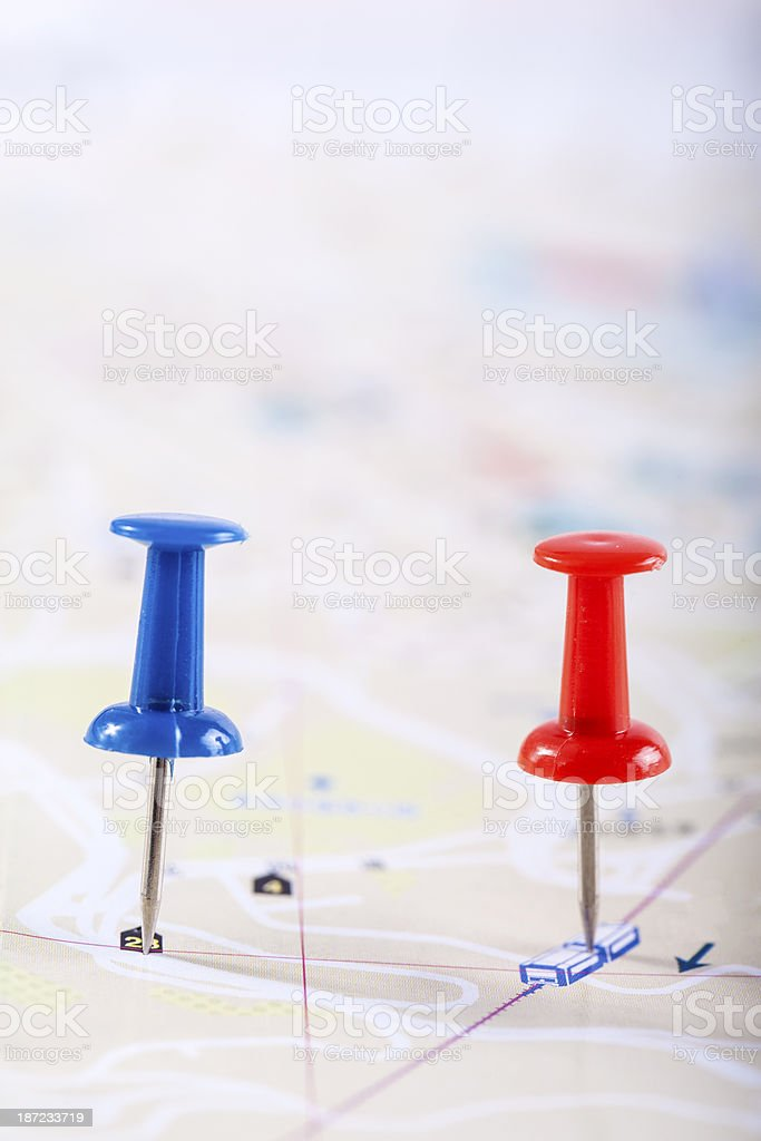 Pins in map royalty-free stock photo